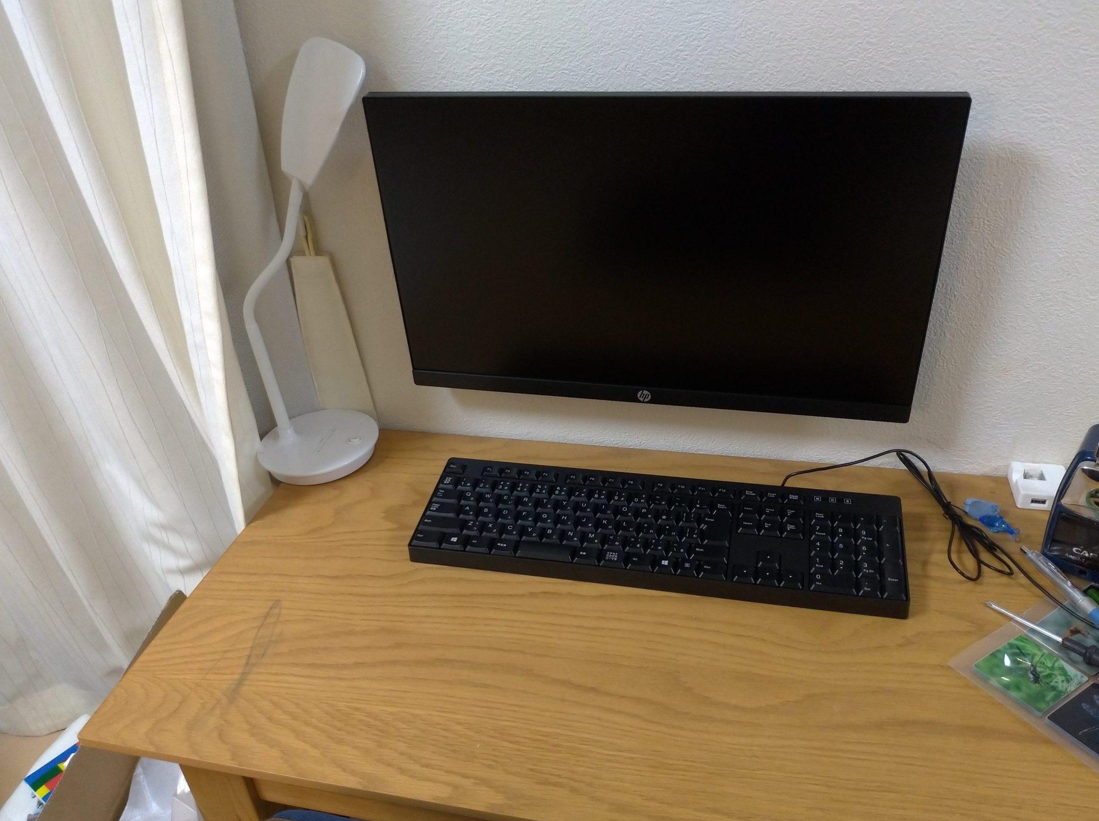 石膏ボードに穴を開けずにパソコンモニターを壁掛けに